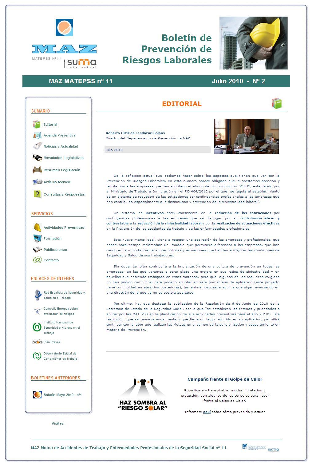 Boletín PRL - Nº 02 - Julio 2010