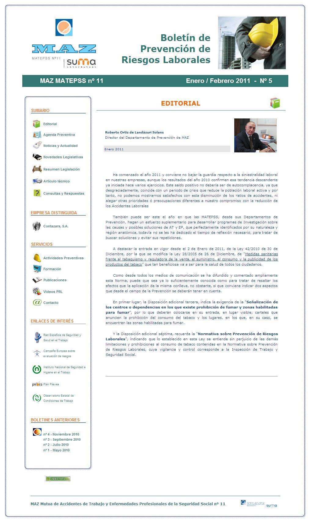Boletín PRL - Nº 05 - Enero 2011