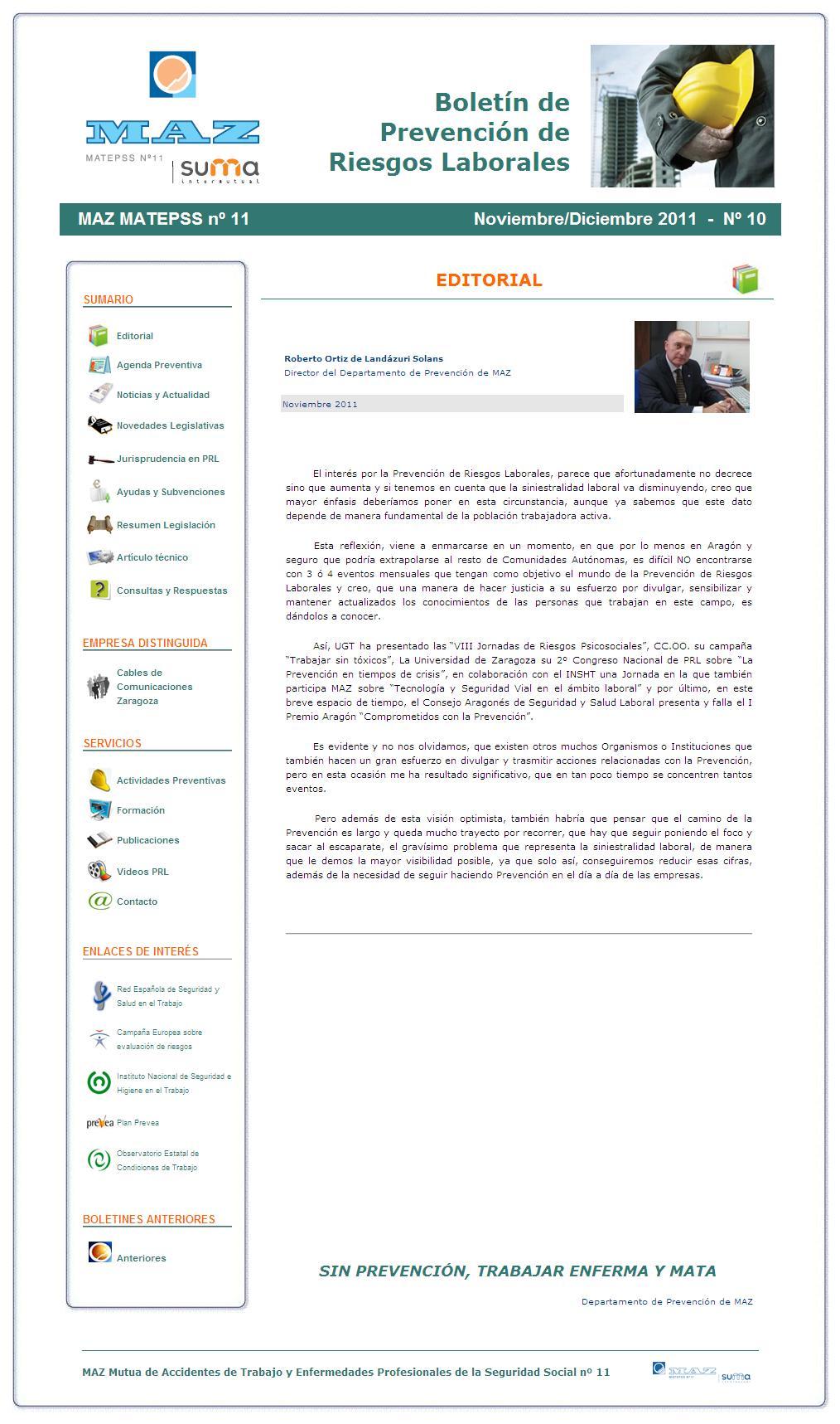 Boletín PRL - Nº 10 - Noviembre 2011