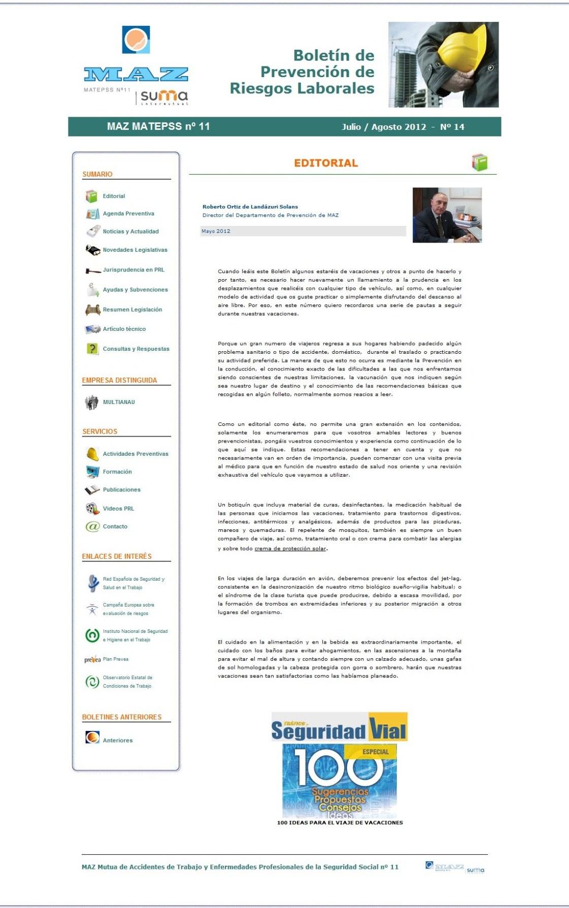 Boletín PRL - Nº 14 - Julio 2012