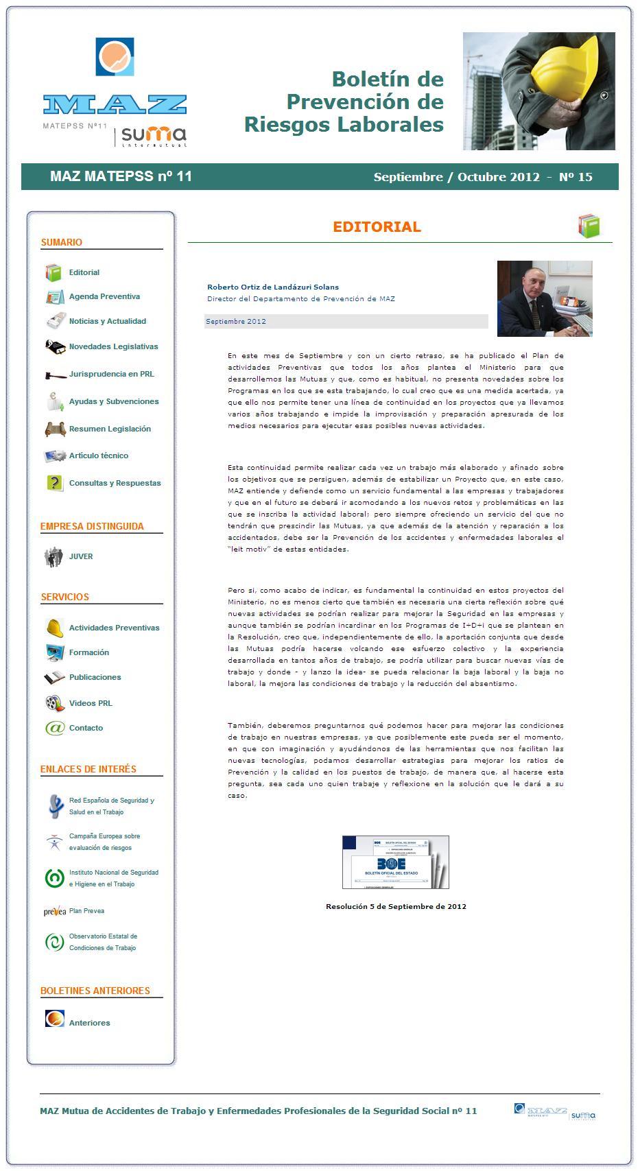 Boletín PRL - Nº 15 - Septiembre 2012