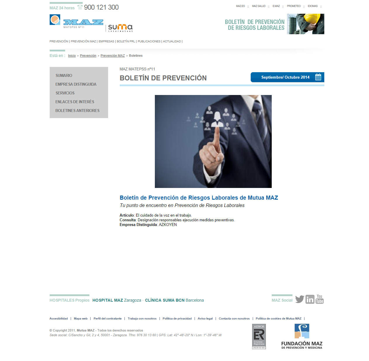 Boletin PRL - Nº 24 - Septiembre 2014