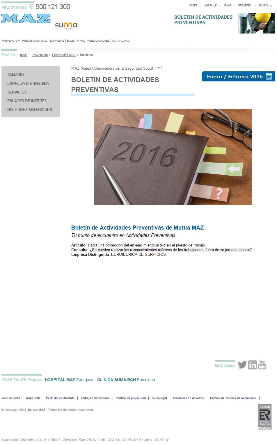 Boletín PRL - Nº 30 - Enero 2016